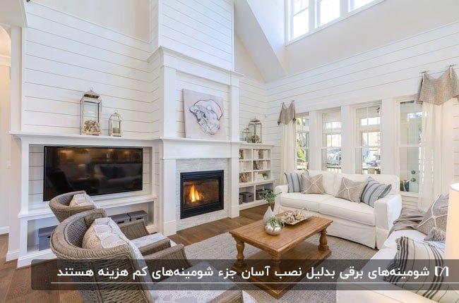 نشیمنی با دیوارهای سفید و سقف شیب دار بلند به مراه میز چوبی و شومینه برقی