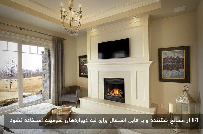اتاق خوابی با دیوارهای رنگ شده و شومینه گازی با تلویزیون بالای شومینه