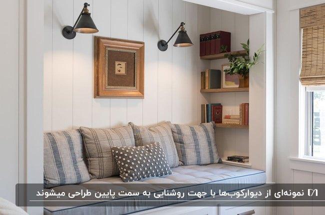 گوشه دنجی با پارچه ها راه راه، قفسه چوبی روی دیوار و دو روشنایی دیوارکوب