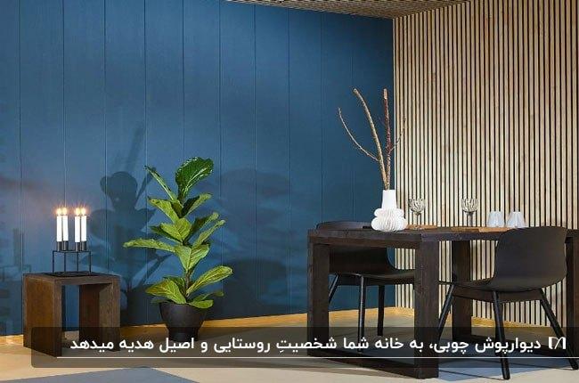 تصویر از یک اتاق با دیوارپوش چوبی آبی در کنار میز غذاخوری