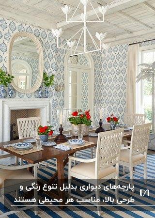 پارچه دیواری طرحدار آبی و سفید برای اتاق غذاخوری با میز چوبی