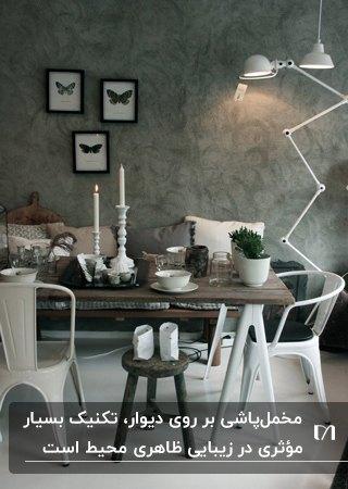 اتاق غذاخوری با میزوصندلی های سفید، آباژور پایه دار سفید و دیوارمخمل پاشی شده طوسی