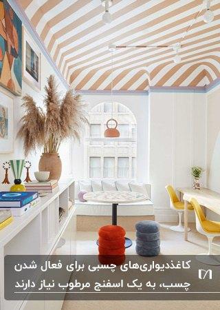 اتاق کار مدرن و زیبایی با صندلی های زرد، پاف های آبی و قرمز و کاغذدیواری راه راه گلبهی و سفید سقف