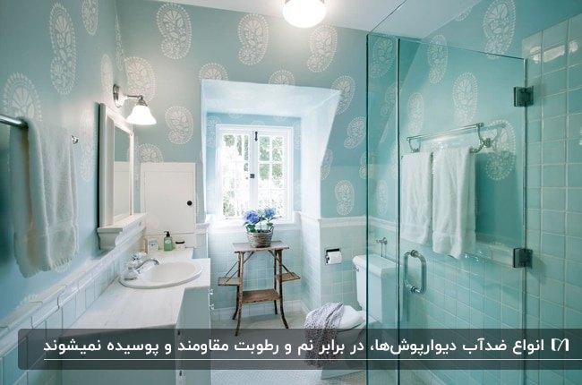 تصویر یک سرویس بهداشتی آبی روشن با دیوارپوش طرحدار سفید و آبی