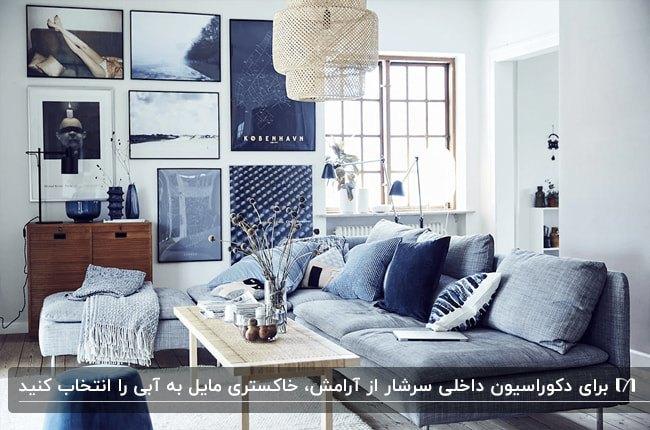 دکوراسیون داخلی نشیمن با ترکیب رنگ دیوار طوسی، مبلمان خاکستری مایل به آبی و تابلوهای دیواری