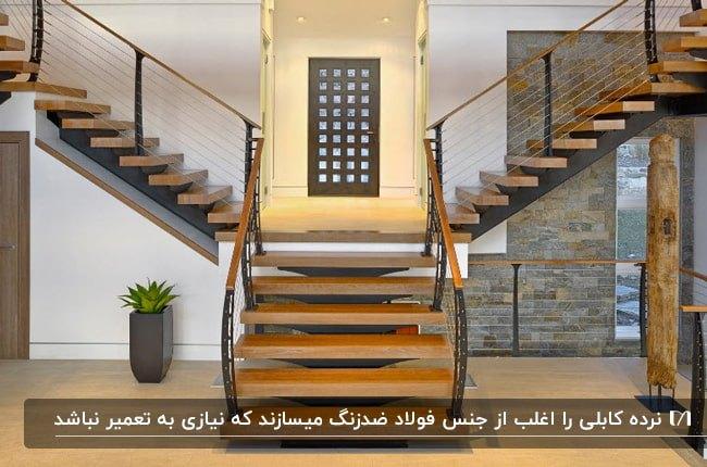 تصویر فضای داخلی خانه دوبلکسی با راه پله چوبی و نرده های کابلی با فریم فلزی مشکی