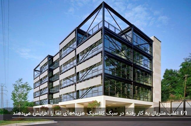 تصویر نمای مدرن یک ساختمان اداری با فلز مشکی، شیشه و بخش های طوسی رنگ