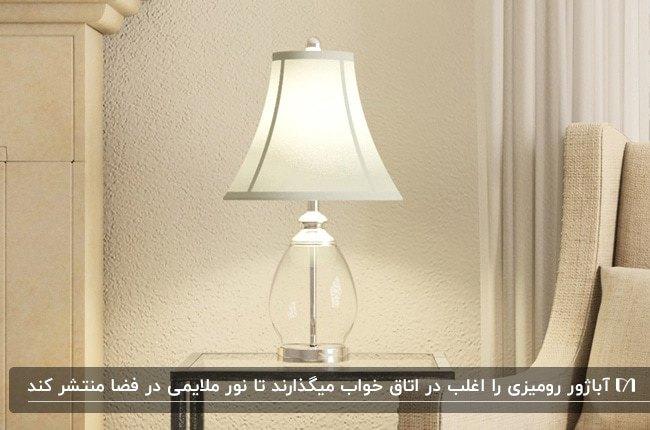 تصویر یک آباژور رومیزی شیشه ای با شید سفید