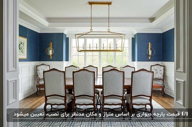 اتاق غذاخوری با میزو صندلی های چوبی، لوستر طلایی و پارچه دیواری آبی
