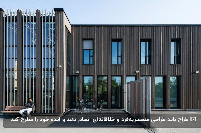 تصویری از نمای خاکستری یک ساختمان اداری بزرگ به سبک مدرن