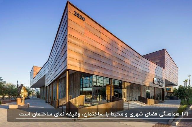 تصویری از نمای متفاوت یک ساختمان اداری از جنس چوب هماهنگ با فضای شهری