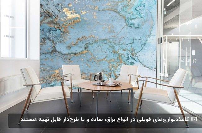 تصویر اتاق کاری با میز گرد چوبی و صندلی های سفید مقابل دیواری با کاغذدیواری فویلی آبی و طلایی