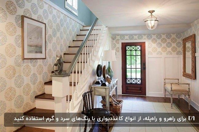 راهروی ورودی و راه پله چوبی خانه ای با کاغذدیواری های طرح دار کمرنگ