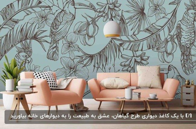 نشیمنی با مبلمان گلبهی، کاغذدیواری با زمینه آبی و طرح گل و گیاه قهوه ای با چراغ آویز