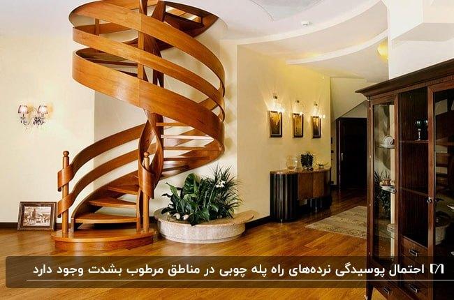 فضای ورودی خانه ای با کفپوش چوبی، راه پله گرد چوبی و نرده های چوبی
