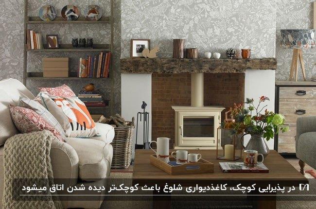 نشیمن کوچکی با مبلمان کرم، کاغذدیواری طرحدار کرم و شومینه فلزی و کتابخانه چوبی