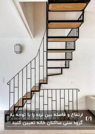 راه پله استاندارد، ساده و مدرن چوبی با فریم و نرده های فلزی مشکی