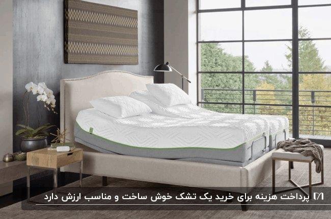 دکوراسیون یک اتاق خواب با تخت خواب و تشک استاندارد مقابل یک دیوار شیشهای