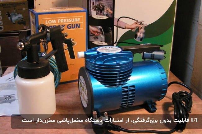 تصویر یک دستگاه مخمل پاش مخزن دار آبی براق