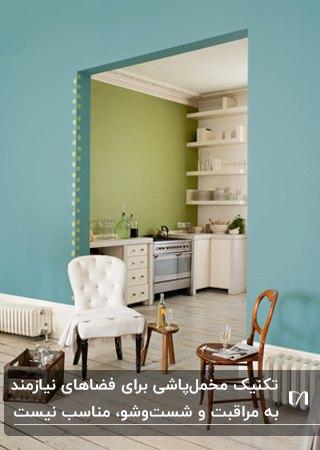 آشپزخانه ای با دیوار سبز و کابینت های سفید که دیوارش مناسب مخمل پاشی نیست