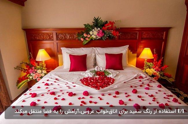 تصویر یک اتاق خواب عروس با تخت چوبی، ملحفه سفید،کوسن های قرمز و تخت تزئین شده