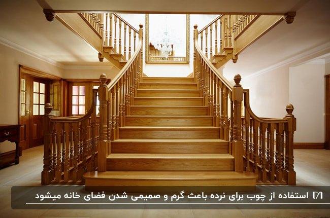 تصویر راه پله بزرگی از جنس چوب با نرده های چوبی