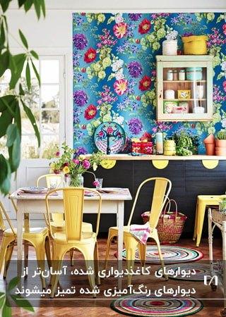 نشیمنی با میز مربع سفید، صندلی های فلزی زرد، کابینت های مشکی و کاغذدیواری گل دار رنگارنگ