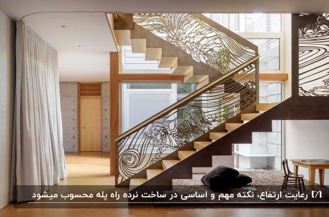 تصویر خانه ای با کفپوش و راه پله استاندارد چوبی و نرده های طرحدار زیبای فلزی
