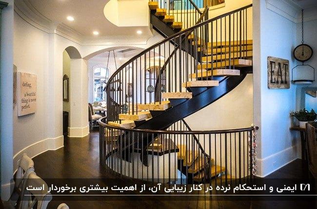 تصویر فضای داخلی خانه تریبلکسی با راه پله گرد فریم مشکی و پله های چوبی به رنگ کرم