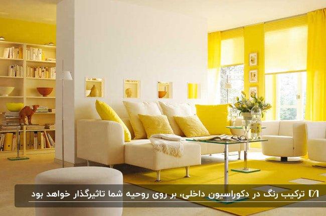 دکوراسیون نشیمنی با ترکیب رنگ زرد و سفید برای مبلمان، رنگ دیوارها، فرش و پرده