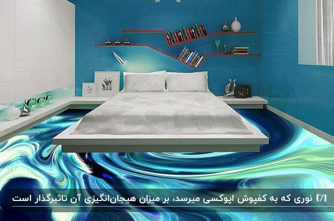 اتاق خوابی با تخت خواب دو نفره سفید، دیوار آبی رنگ و کفپوش سه بعدی