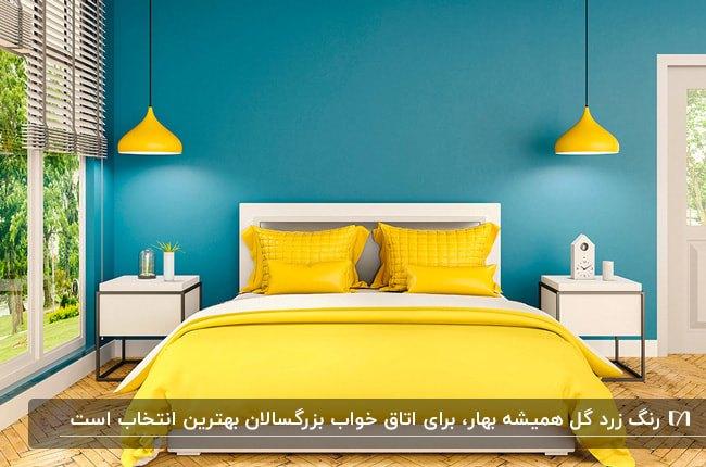 اتاق خوابی به رنگ زرد با تخت سفید، روتختی و چراغ های آویز زرد و دیوار آبی