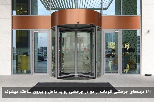 نمای خارجی ورودی ساختمانی به رنگ طوسی و مسی با درب چرخشی اتوماتیک