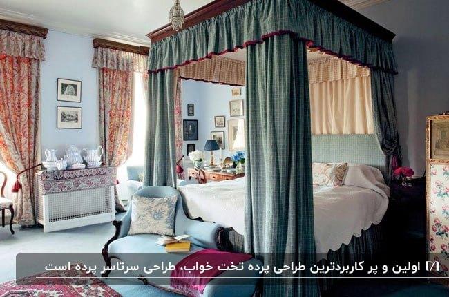 اتاق خوابی با تم رنگی سبزآبی با تخت پرده دار چوبی با پرده سرتاسری سبزآبی
