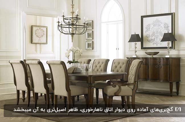 اتاق غذاخوری کلاسیکی با میز و صندلی غذاخوری کلاسیک و دیوارهای گچبری شده سفید رنگ