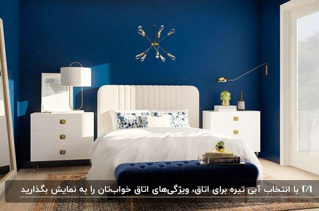 اتاق خوابی با دیوارهای آبی تیره، تخت، پاتختی و آباژورهای سفید