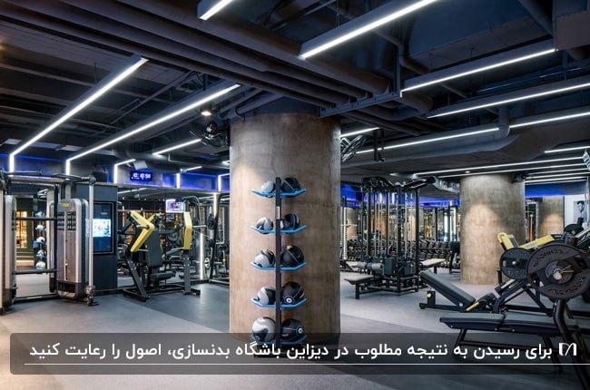 تصویر دکوراسیون باشگاه بدنسازی زیرزمینی با ستون های استوانه ای و سقف لوله های آب نورپردازی شده