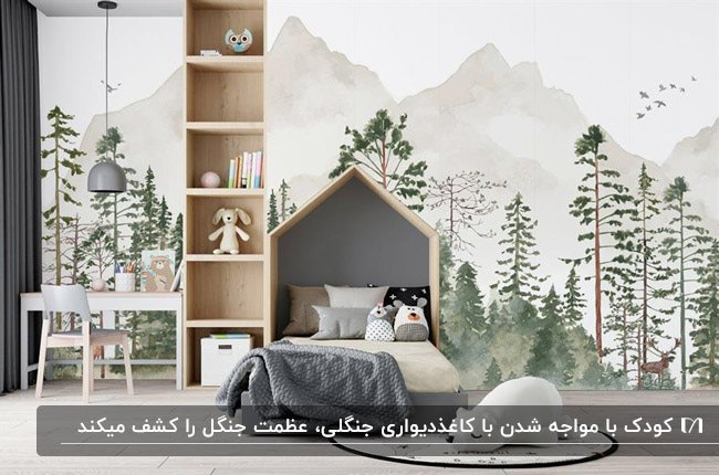 اتاق خواب پسرانه با تخت و قفسه چندطبقه چوبی با کاغذدیواری طرح فضای جنگل