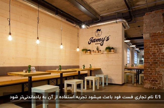 دکوراسیون یک فست فود با دیوارهای سفید، میزهای چوبی و چهارپایه های سفید با نام فست فود روی دیوار