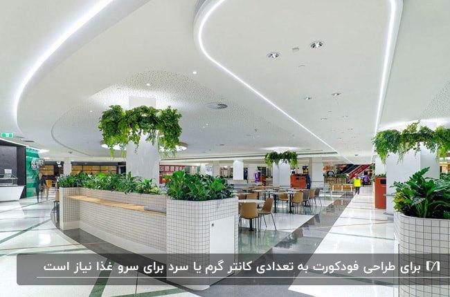 فودکورتی با طراحی دیوار سقف سفید و باکس های گل سبز رنگ