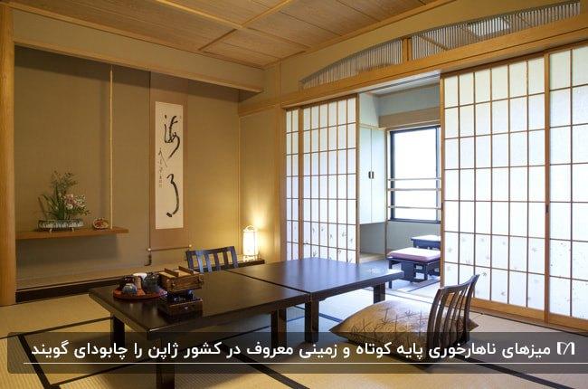 میز ناهارخوری ژاپنی به نام چابودای در اتاقی با درب نیمه شفاف کشویی