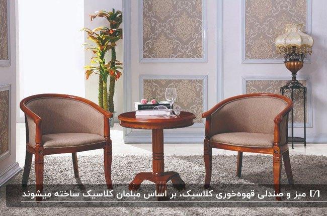 تصویر میز گرد چوبی و صندلی های قهوه خوری به سبک کلاسیک با پارچه کرم رنگ