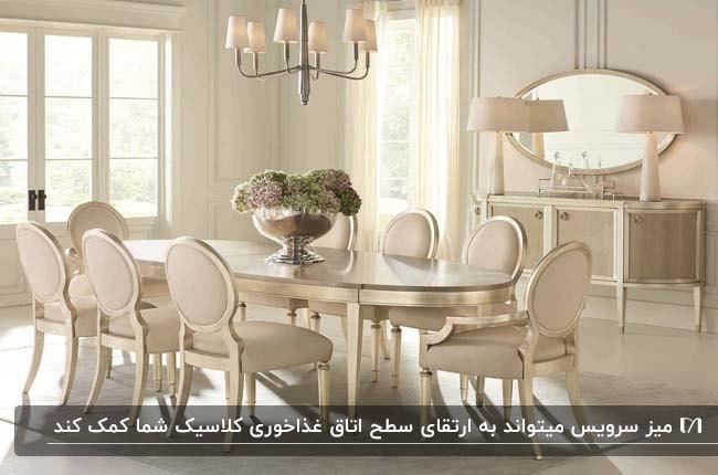 اتاق غذاخوری کلاسیک به رنگ کرم و طلایی با میز غذاخوری بیضی و میز سرویس