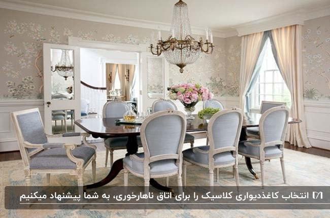 اتاق غذاخوری کلاسیک با میز و صندلی های آبی و کرم با کاغذدیواری گلدار روشن