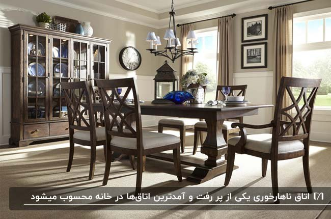 اتاق غذاخوری کلاسیک با دیوارهای طوسی و میز ناهارخوری و صندلی های چوبی