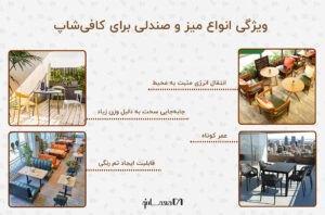 اینفوگرافی ویژگی انواع میز و صندلی برای کافی شاپ به همراه چهار عکس