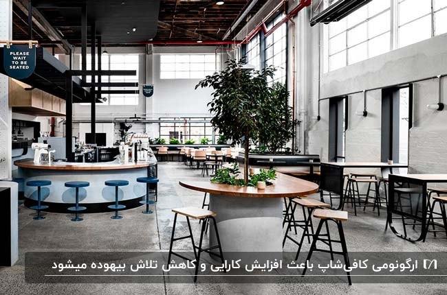 طراحی داخلی کافی شاپ مدرن با میز و صندلی های چوبی و فلزی و سقف مشکی