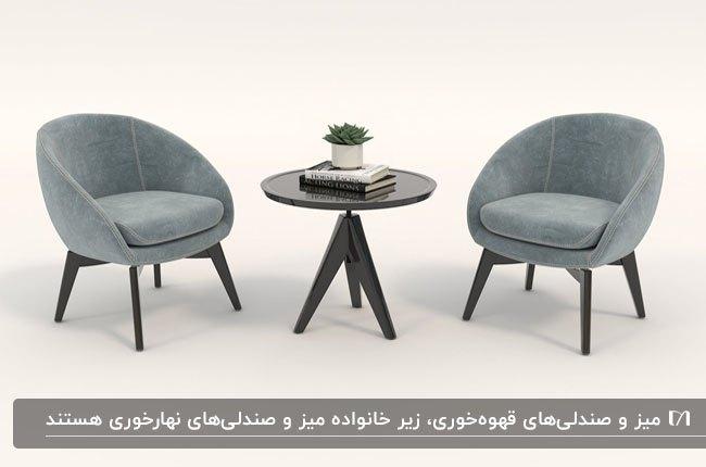 تصویر میز و صندلی های قهوه خوری طوسی و مشکی با میز گرد