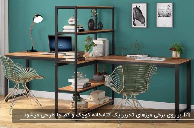 تصویر یک میز تحریر چوبی و فلزی دو نفره با قفسه های کتاب وسط میز و دو صندلی طلایی