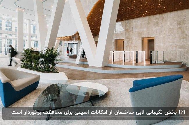لابی مدرن ساختمانی با ستون های سفید، مبلمان هندسی کرم، طوسی و آبی و میز عسلی مثلثی